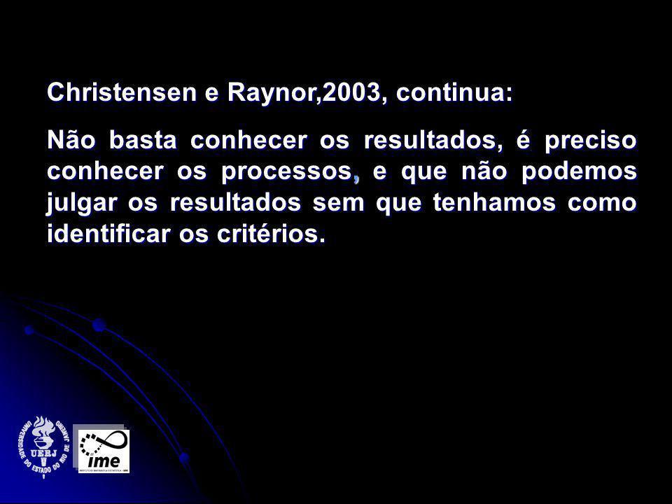 Christensen e Raynor,2003, continua: