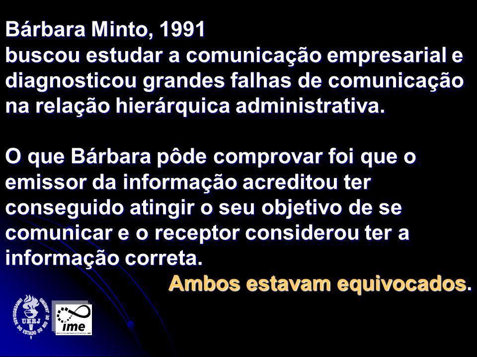 Bárbara Minto, 1991 buscou estudar a comunicação empresarial e diagnosticou grandes falhas de comunicação na relação hierárquica administrativa.