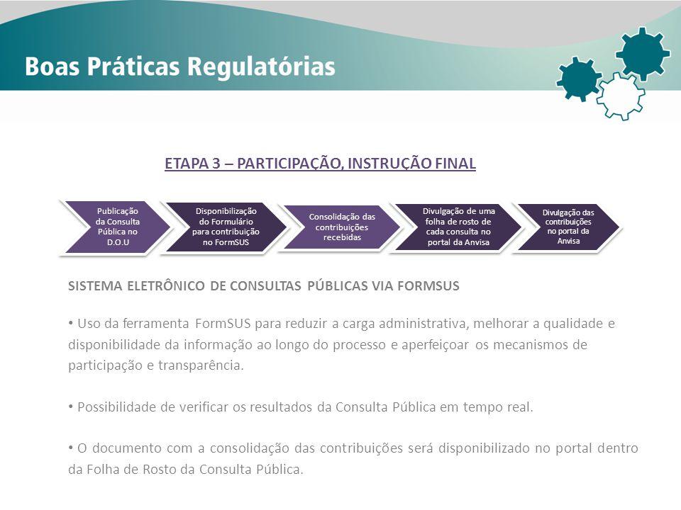 ETAPA 3 – PARTICIPAÇÃO, INSTRUÇÃO FINAL
