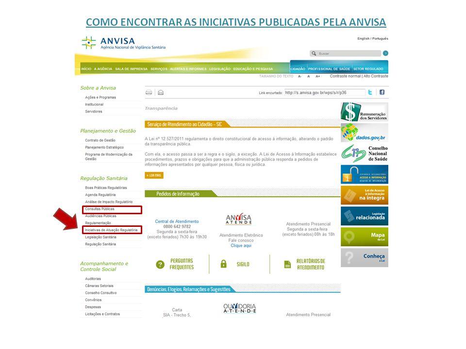 COMO ENCONTRAR AS INICIATIVAS PUBLICADAS PELA ANVISA
