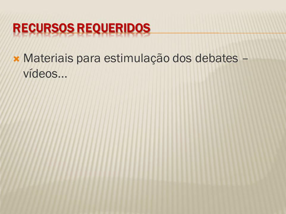 Recursos requeridos Materiais para estimulação dos debates – vídeos...