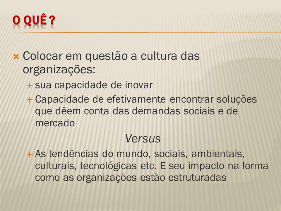 Colocar em questão a cultura das organizações: