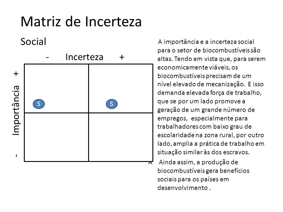 Matriz de Incerteza Social - Incerteza + - Importância +