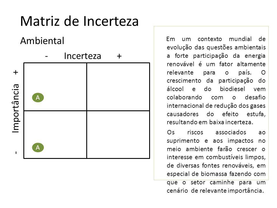 Matriz de Incerteza Ambiental - Incerteza + - Importância +