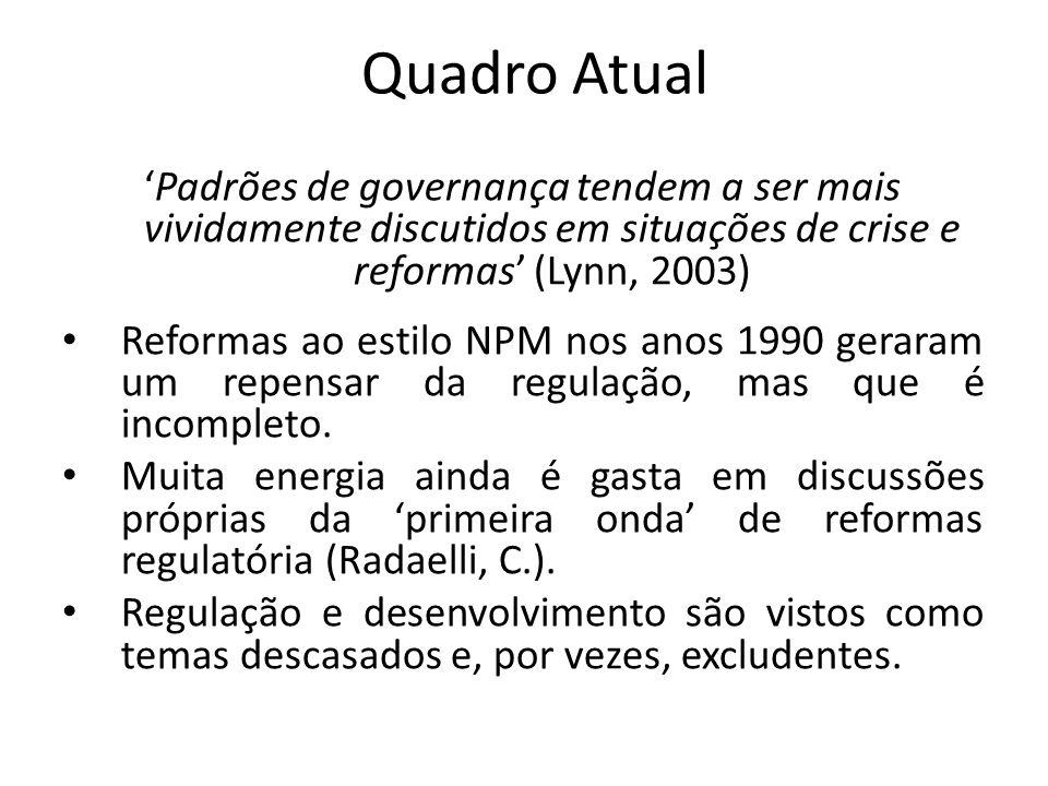 Quadro Atual 'Padrões de governança tendem a ser mais vividamente discutidos em situações de crise e reformas' (Lynn, 2003)