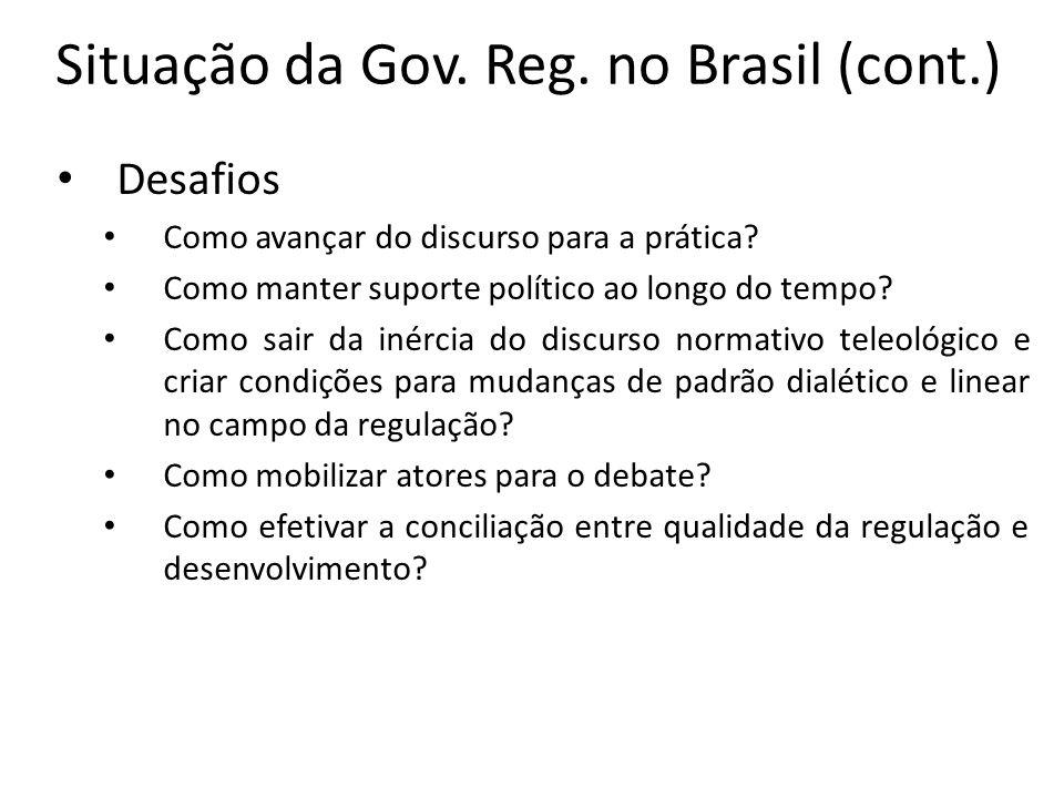 Situação da Gov. Reg. no Brasil (cont.)
