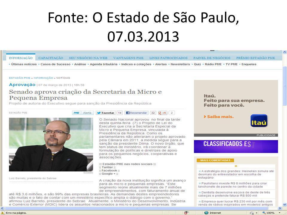 Fonte: O Estado de São Paulo, 07.03.2013