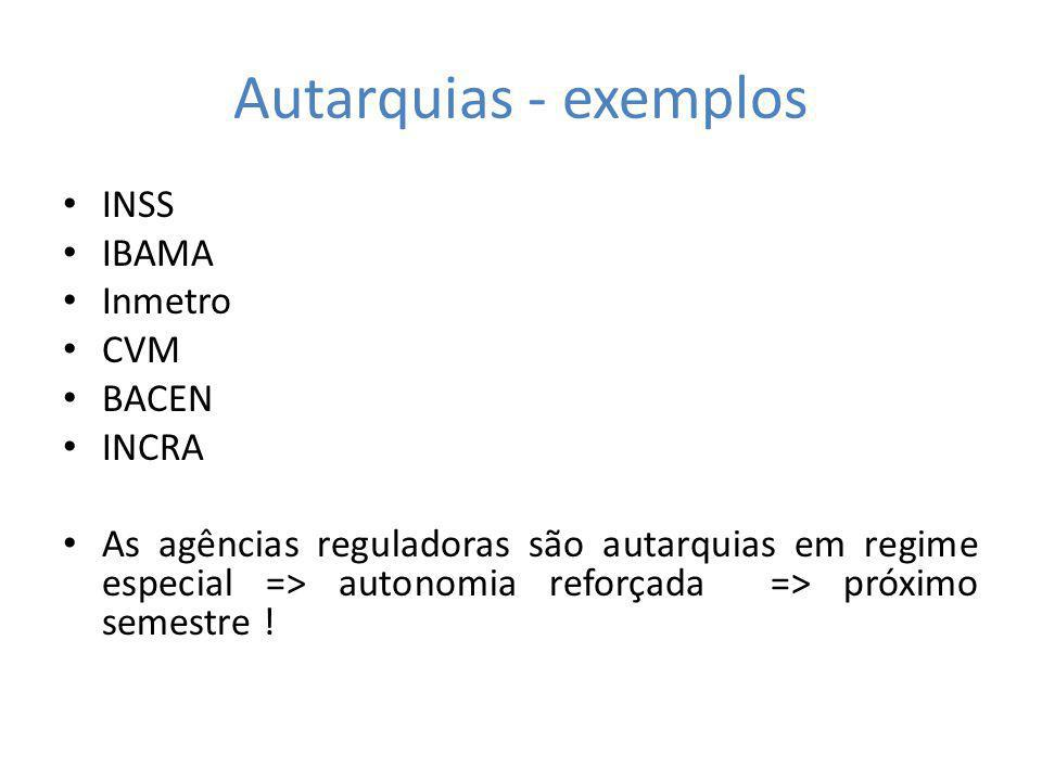 Autarquias - exemplos INSS IBAMA Inmetro CVM BACEN INCRA