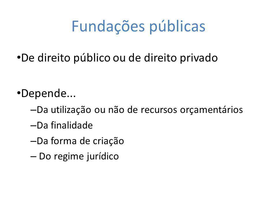 Fundações públicas De direito público ou de direito privado Depende...