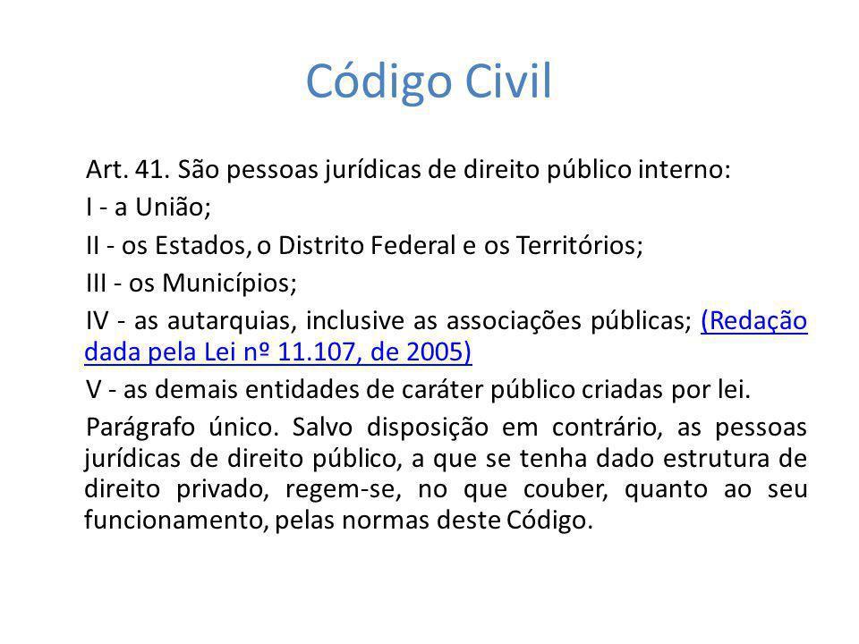 Código Civil Art. 41. São pessoas jurídicas de direito público interno: I - a União; II - os Estados, o Distrito Federal e os Territórios;