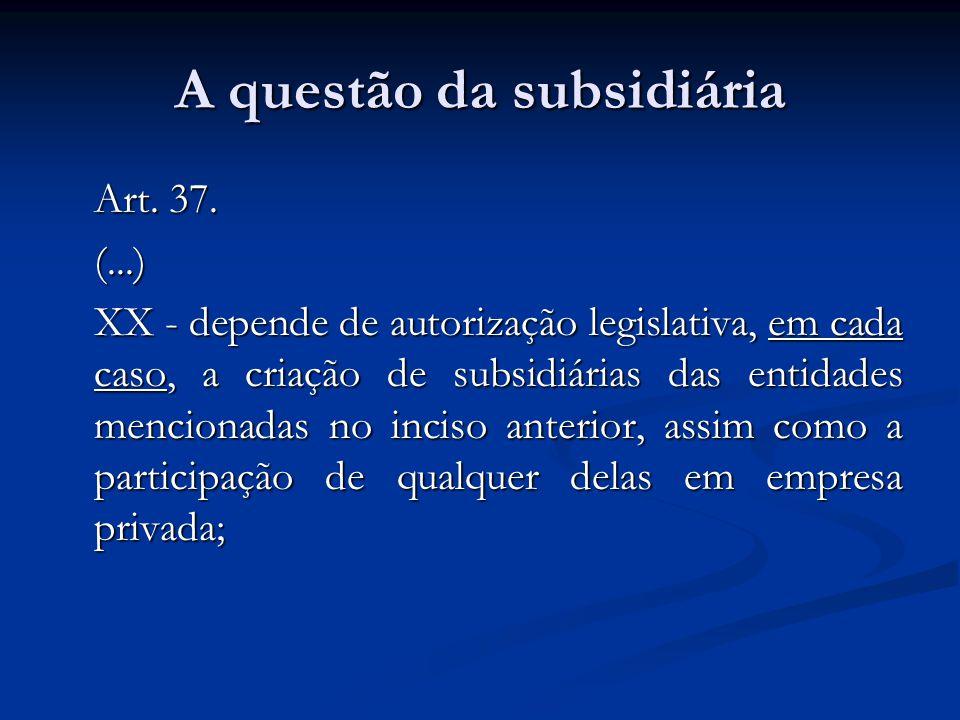 A questão da subsidiária