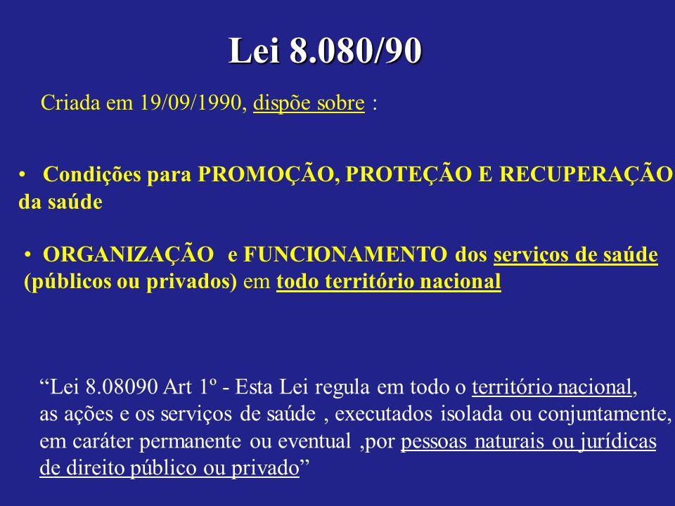 Lei 8.080/90 Criada em 19/09/1990, dispõe sobre :