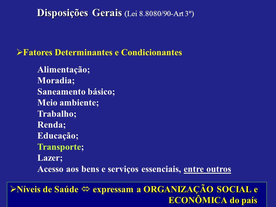 Disposições Gerais (Lei 8.8080/90-Art 3º)