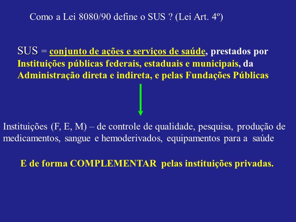 SUS = conjunto de ações e serviços de saúde, prestados por