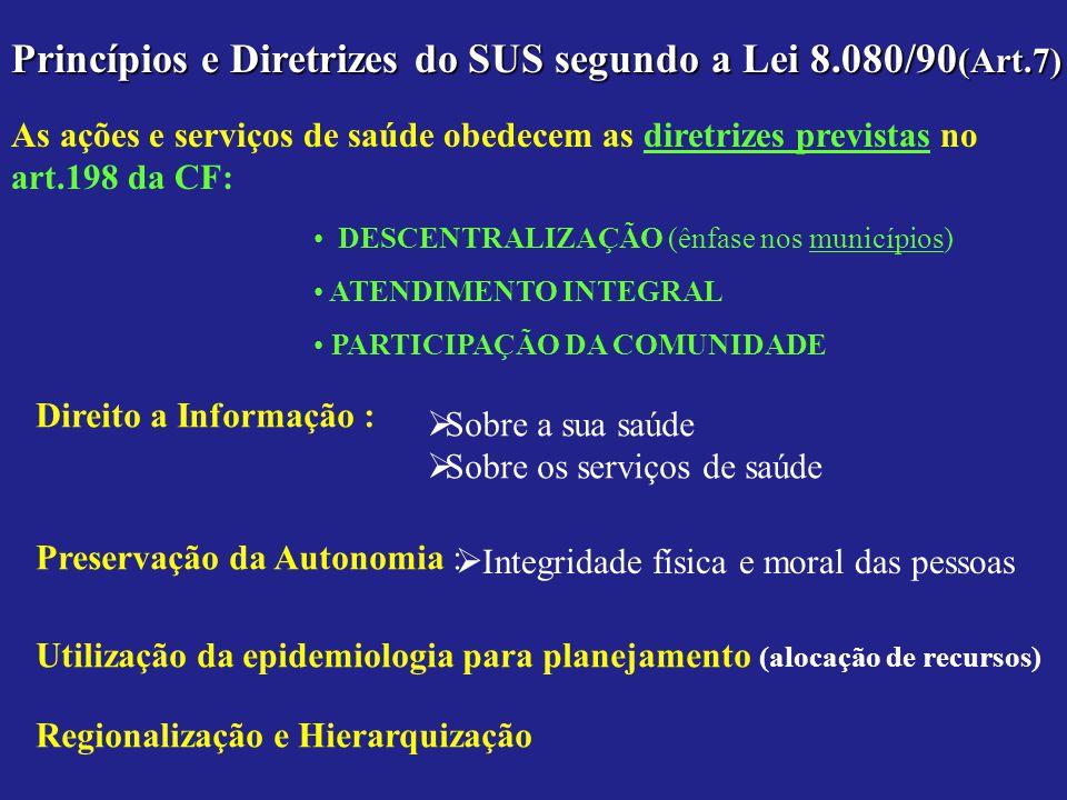 Princípios e Diretrizes do SUS segundo a Lei 8.080/90(Art.7)