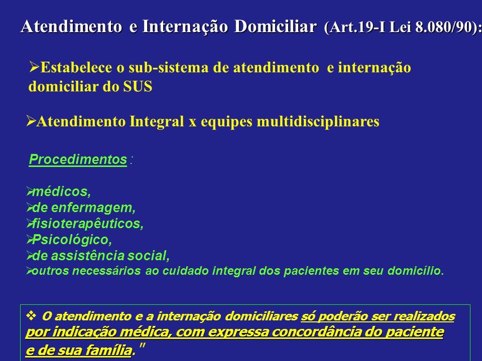 Atendimento e Internação Domiciliar (Art.19-I Lei 8.080/90):