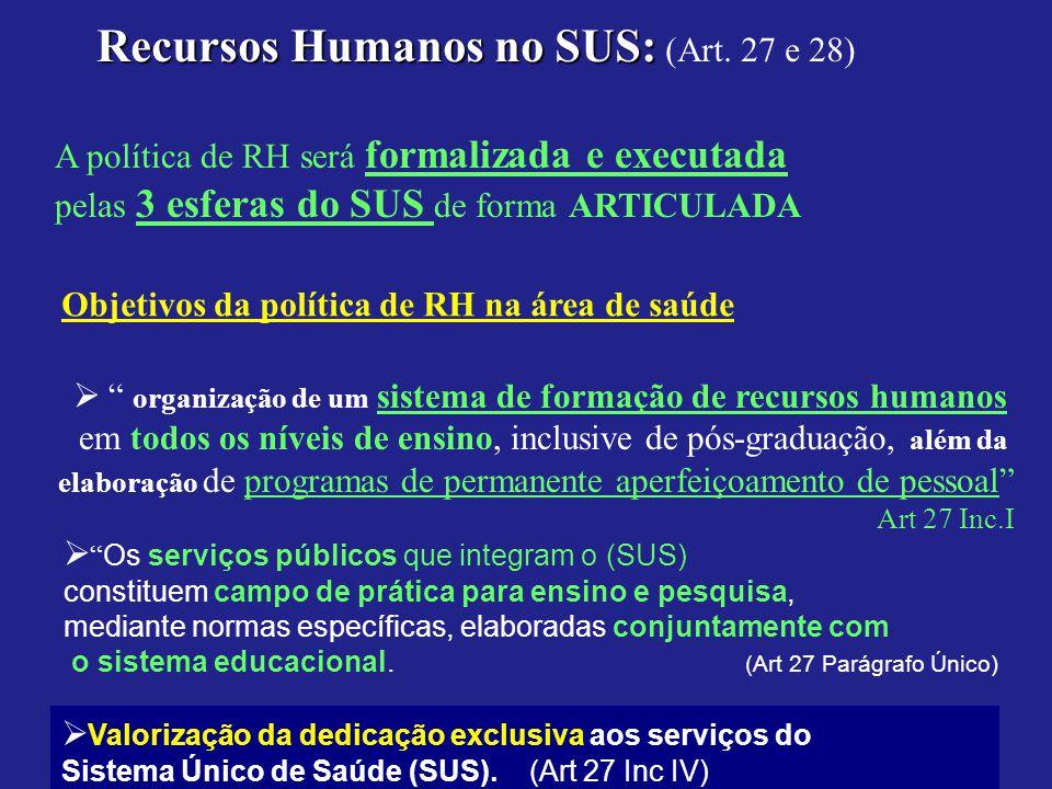 Recursos Humanos no SUS: (Art. 27 e 28)