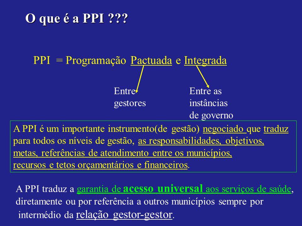 O que é a PPI PPI = Programação Pactuada e Integrada