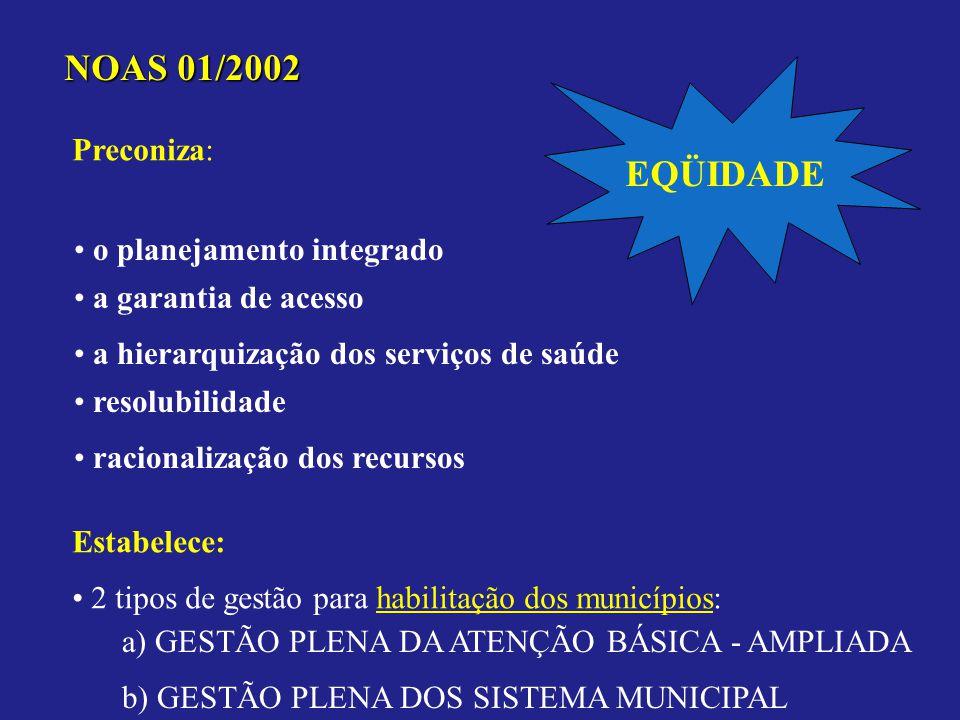 NOAS 01/2002 EQÜIDADE Preconiza: o planejamento integrado