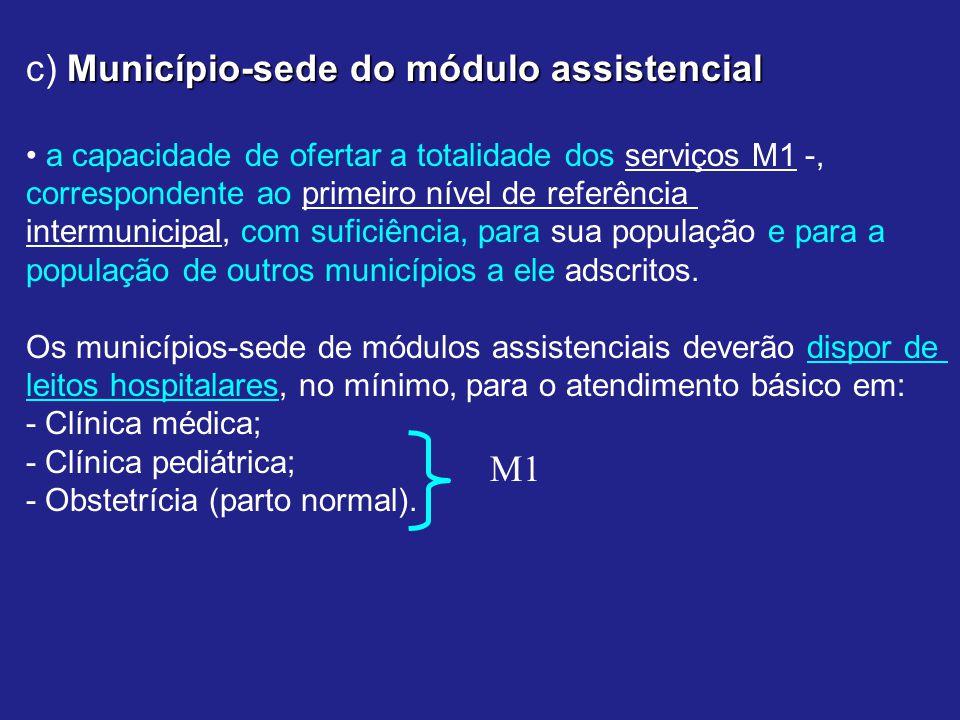 c) Município-sede do módulo assistencial