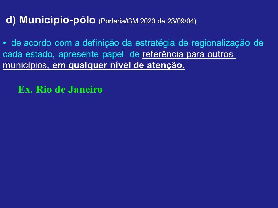 d) Município-pólo (Portaria/GM 2023 de 23/09/04)