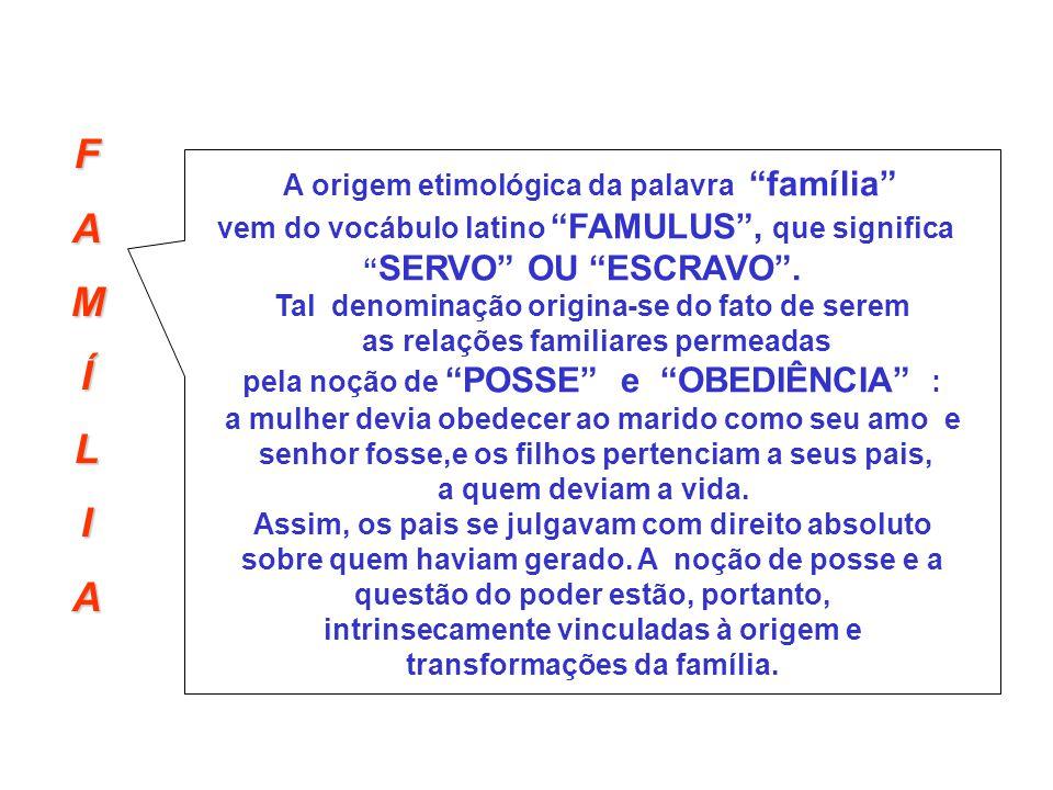 F A M Í L I A origem etimológica da palavra família