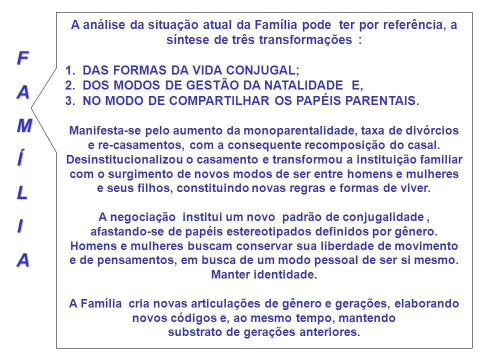 A análise da situação atual da Família pode ter por referência, a síntese de três transformações :