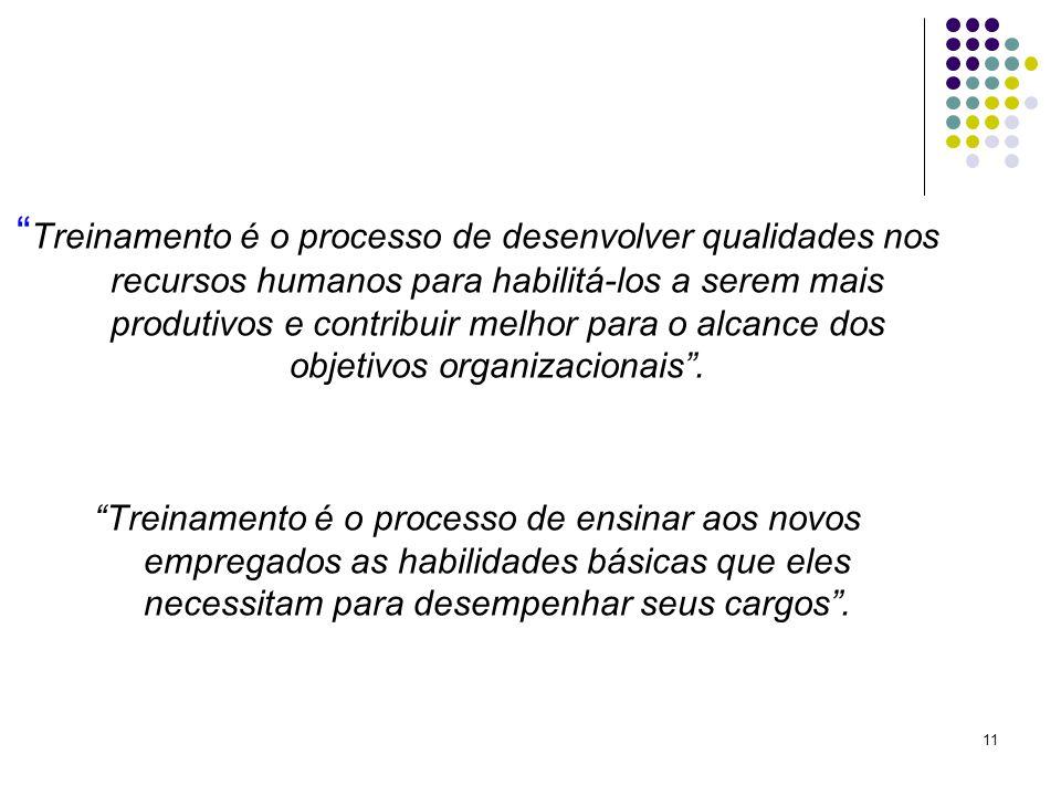 Treinamento é o processo de desenvolver qualidades nos recursos humanos para habilitá-los a serem mais produtivos e contribuir melhor para o alcance dos objetivos organizacionais .
