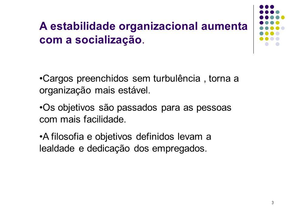 A estabilidade organizacional aumenta com a socialização.