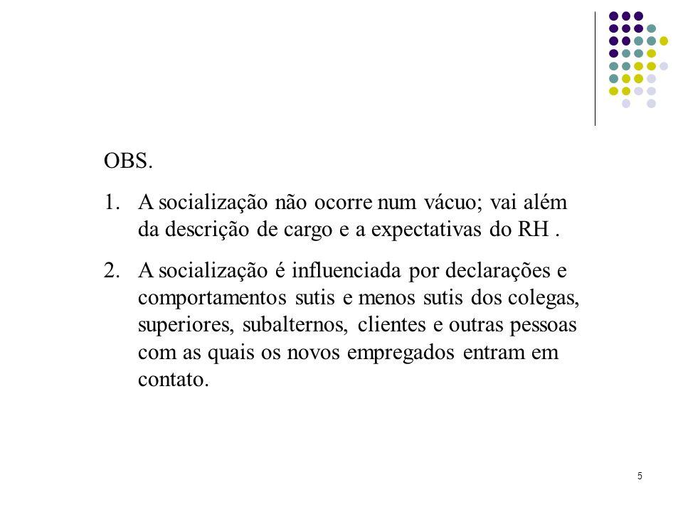 OBS. A socialização não ocorre num vácuo; vai além da descrição de cargo e a expectativas do RH .