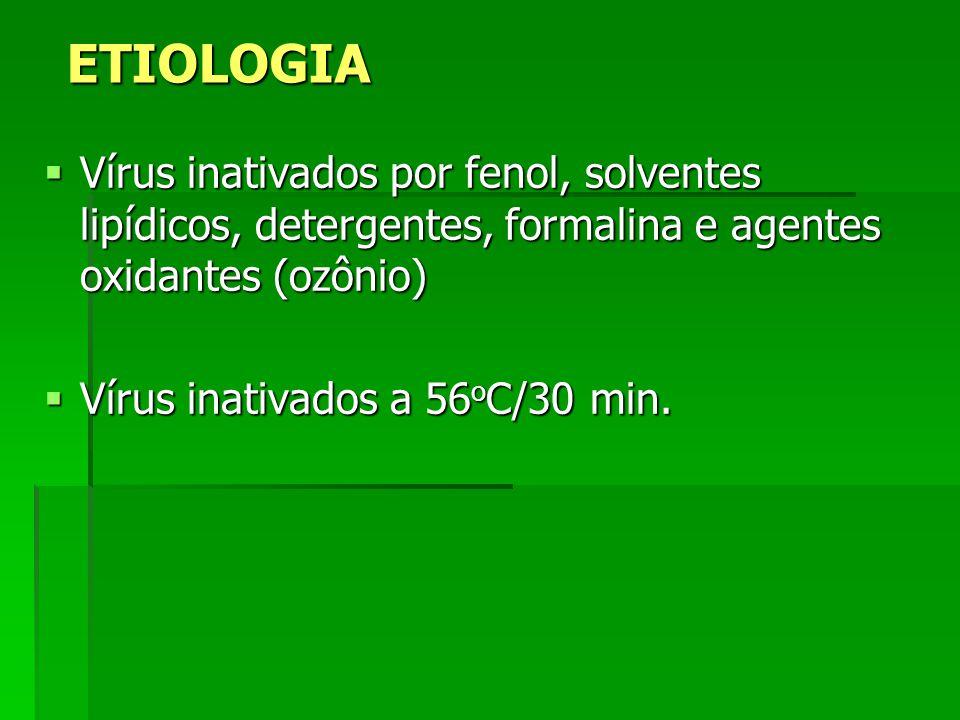 ETIOLOGIA Vírus inativados por fenol, solventes lipídicos, detergentes, formalina e agentes oxidantes (ozônio)