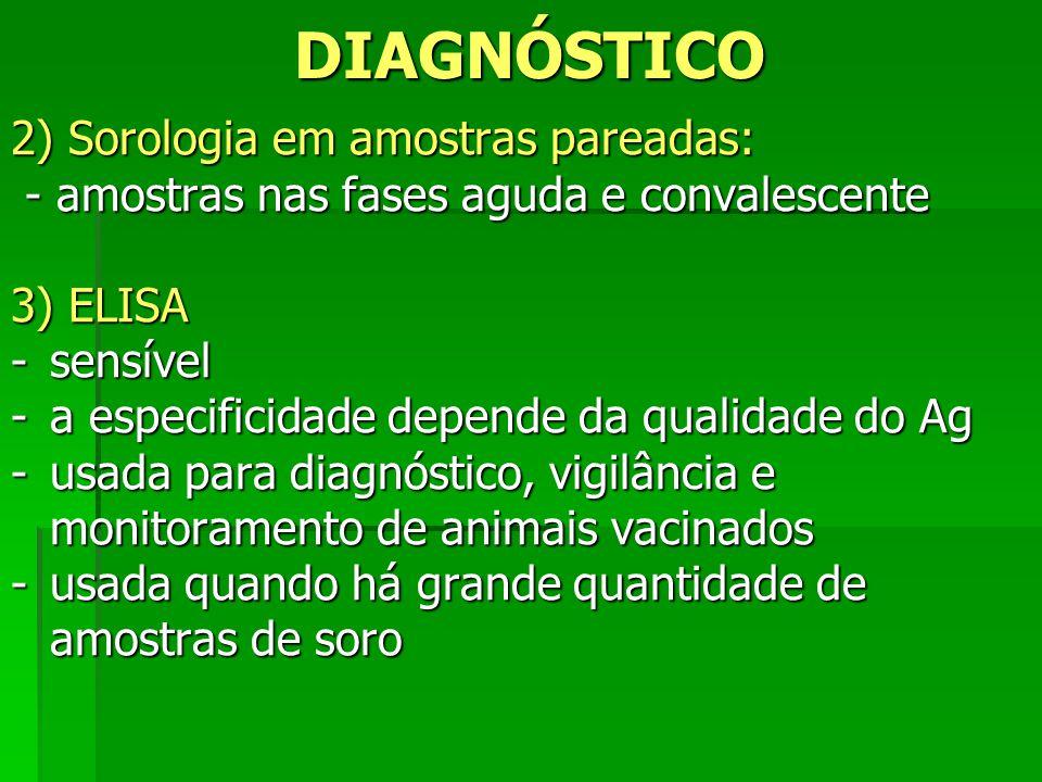 DIAGNÓSTICO 2) Sorologia em amostras pareadas: