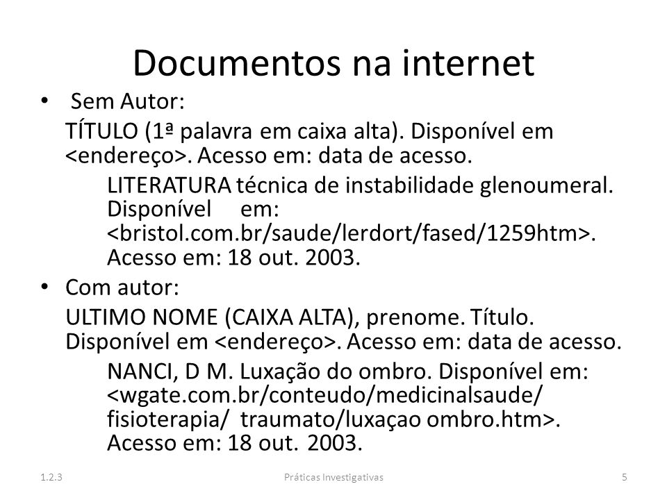Documentos na internet