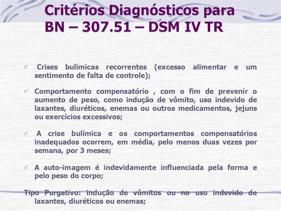 Critérios Diagnósticos para BN – 307.51 – DSM IV TR