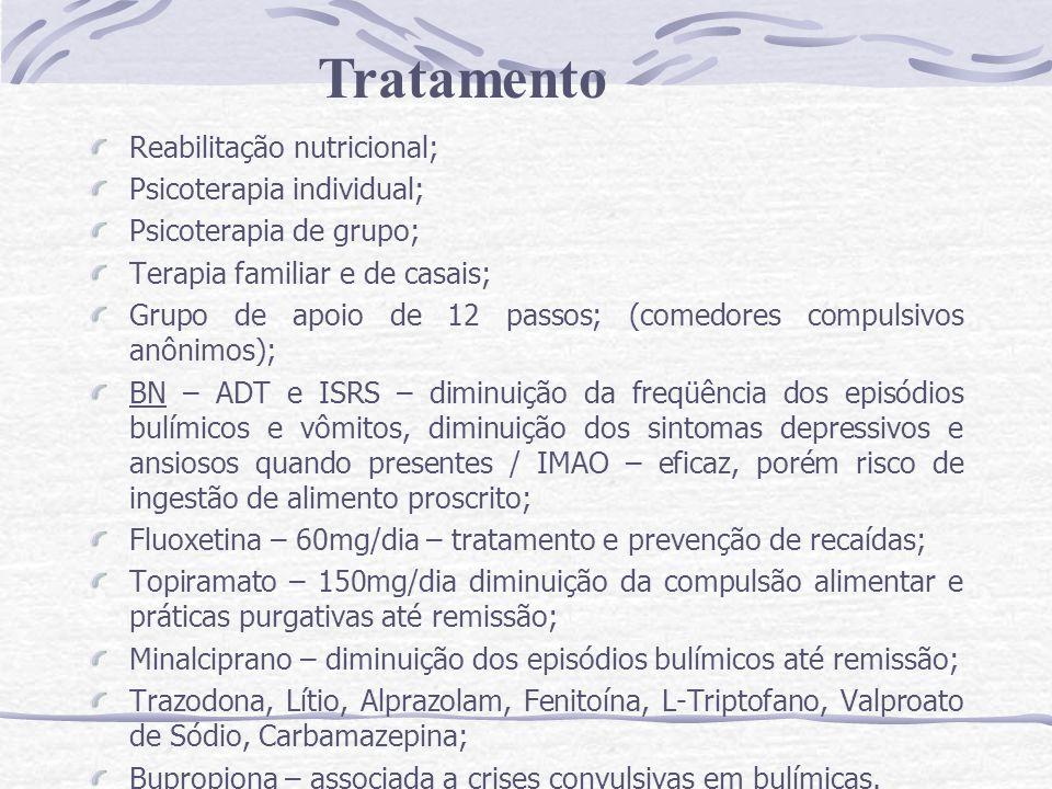 Tratamento Reabilitação nutricional; Psicoterapia individual;