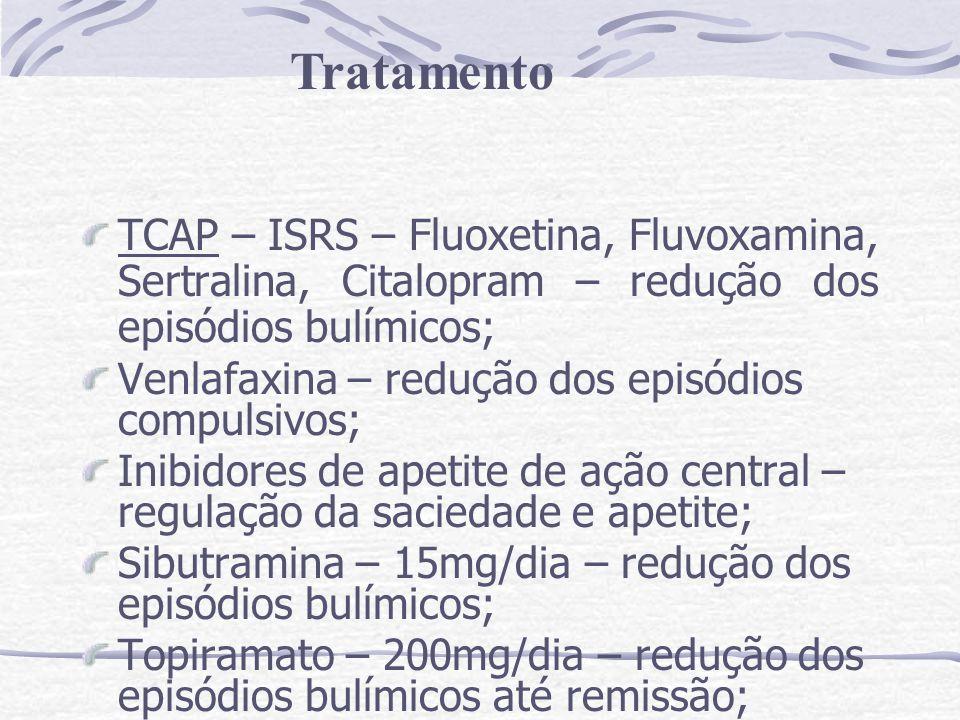 Tratamento TCAP – ISRS – Fluoxetina, Fluvoxamina, Sertralina, Citalopram – redução dos episódios bulímicos;