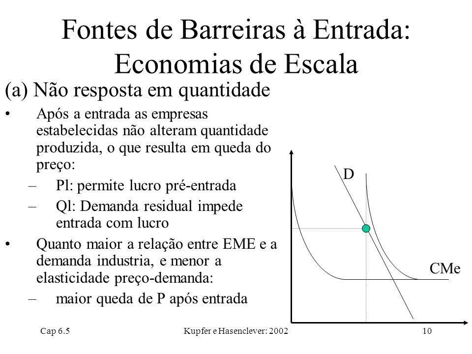 Fontes de Barreiras à Entrada: Economias de Escala