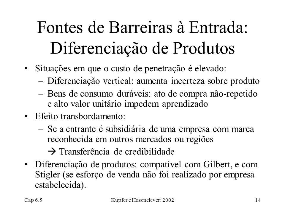 Fontes de Barreiras à Entrada: Diferenciação de Produtos