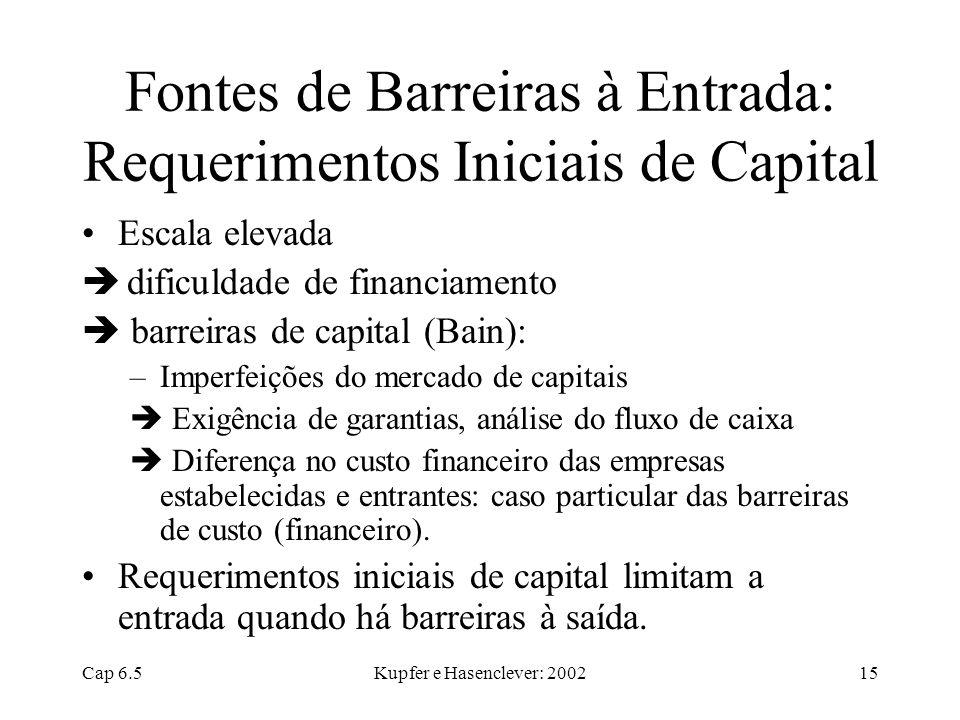 Fontes de Barreiras à Entrada: Requerimentos Iniciais de Capital