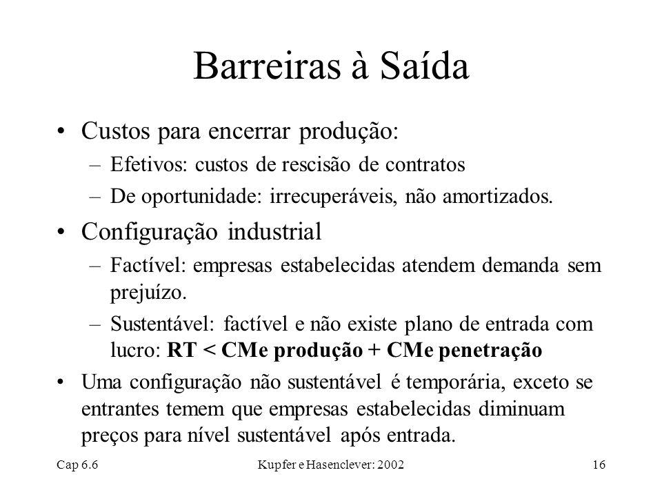Barreiras à Saída Custos para encerrar produção: