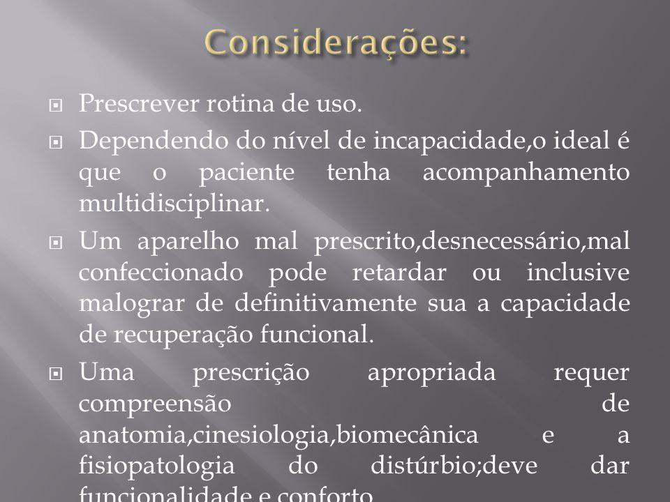 Considerações: Prescrever rotina de uso.