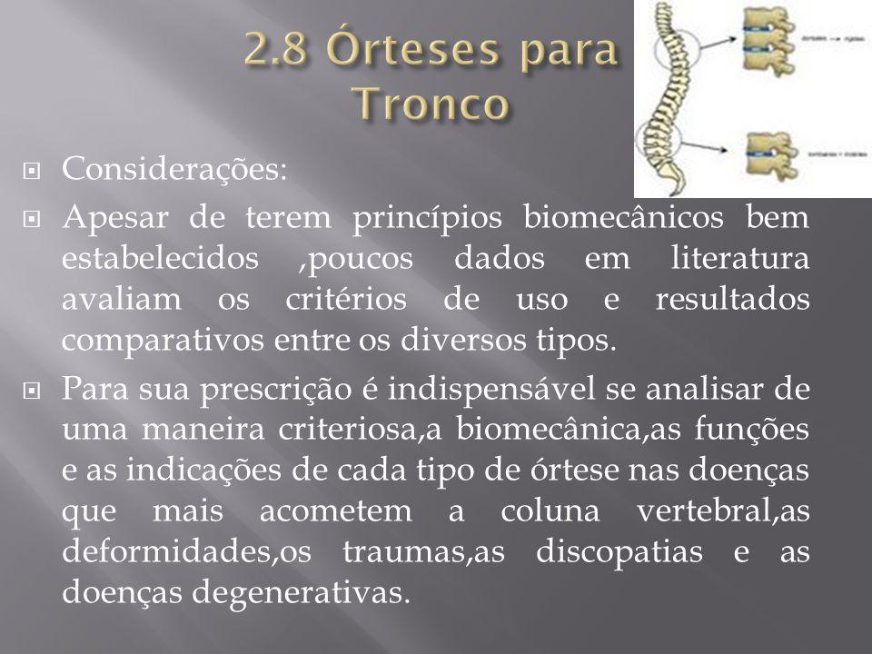 2.8 Órteses para Tronco Considerações: