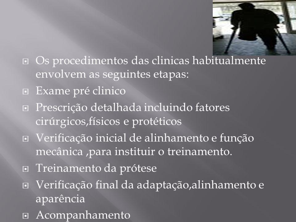 Os procedimentos das clinicas habitualmente envolvem as seguintes etapas: