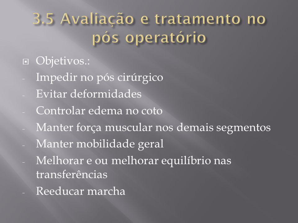 3.5 Avaliação e tratamento no pós operatório