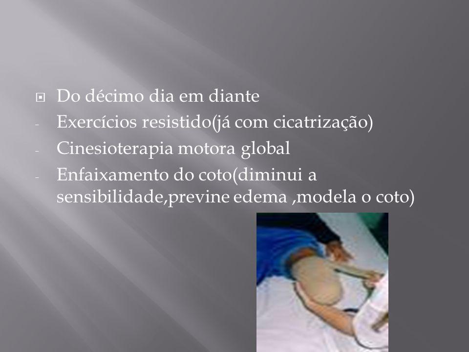 Do décimo dia em diante Exercícios resistido(já com cicatrização) Cinesioterapia motora global.