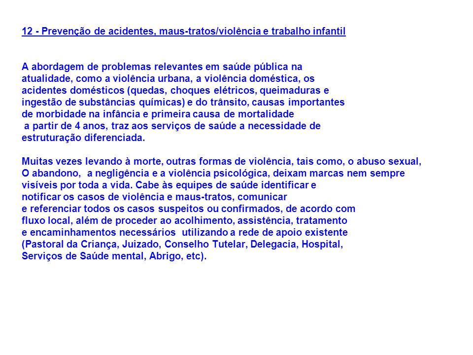 12 - Prevenção de acidentes, maus-tratos/violência e trabalho infantil