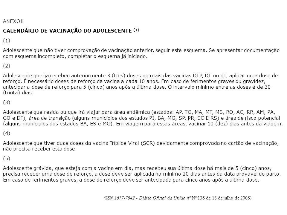 ANEXO II CALENDÁRIO DE VACINAÇÃO DO ADOLESCENTE (1) (1)