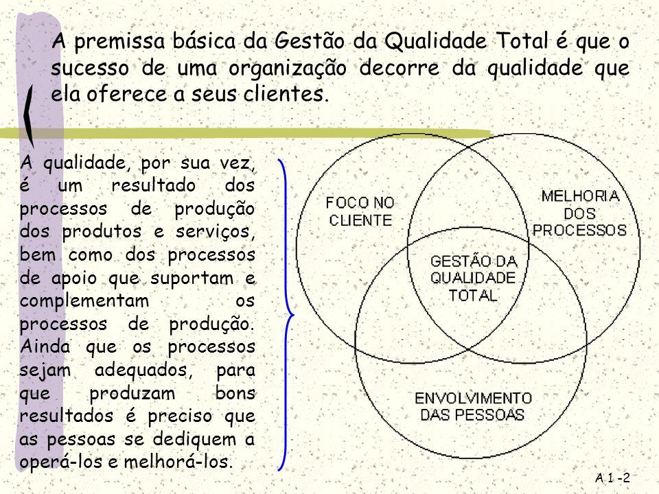 A premissa básica da Gestão da Qualidade Total é que o sucesso de uma organização decorre da qualidade que ela oferece a seus clientes.