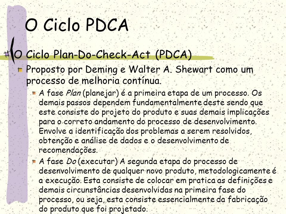 O Ciclo PDCA O Ciclo Plan-Do-Check-Act (PDCA)