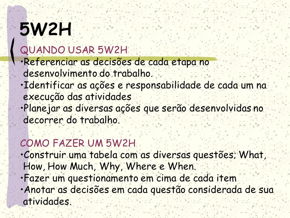 5W2H QUANDO USAR 5W2H. Referenciar as decisões de cada etapa no desenvolvimento do trabalho.